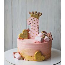 Торт нежно розовый на 1 годик