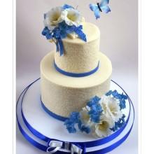 БСВ 517 Торт свадебный бело-синий