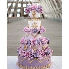 БСВ 7796 Торт свадебный лиловые цветы