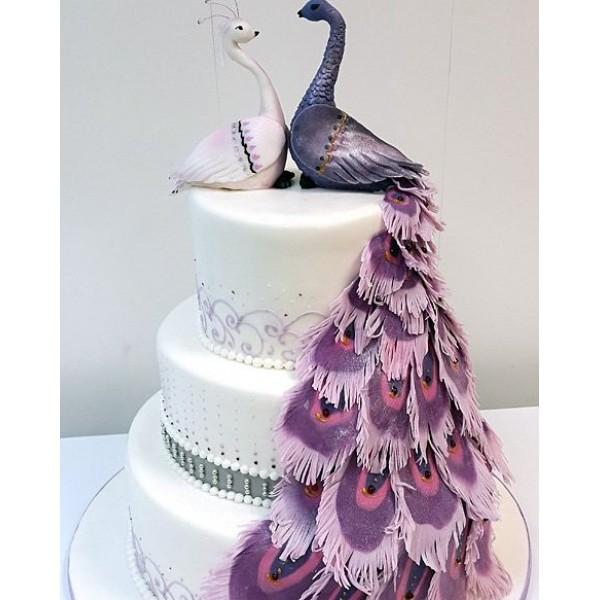Торт свадебный с павлинами в Щелково, Ивантеевка, Фрязино, Пушкино недорого с доставкой Эклеро