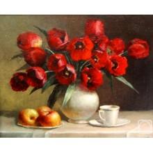 """КР 63 Подарок на 8 марта. Картина """"Красные тюльпаны"""""""