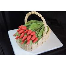 РМ 03 Торт корзина с тюльпанами