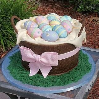 Торт на пасху корзина с яйцами