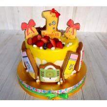 Торт на годик без мастики с фигурками из пряников