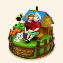 Торт на годовщину, взрослая пара на даче