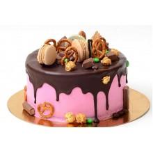 Торт с розовой глазурью без мастики