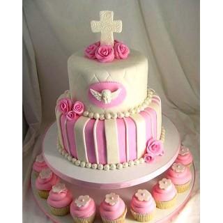 СМ 09 Нежный торт двухэтажный на крестины