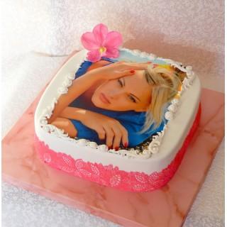 ФТ 03 Торт с фотопечатью розовый