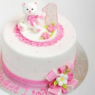 СМ 01 Торт нежно-розовый с мишкой на год