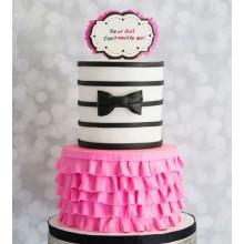 Торт розовый с бантиком для деочек