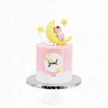 Торт для новорожденной девочки розовый