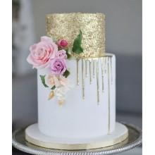 Торт свадебный с золотистым узором
