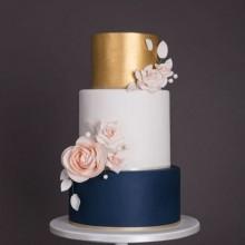 Торт свадебный синий с золотом