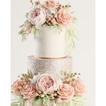 Шикарный свадебный торт с розовыми цветами