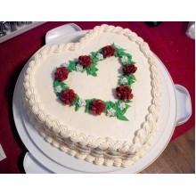 ПР 228 Торт в форме сердца белый с красными розами