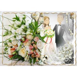 Приглашение на свадьбу на цветочном фоне