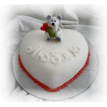 РМ 048 Торт в форме сердца и с медвежонком