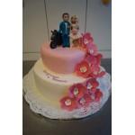 СВ 3 Торт свадебный бело-розовый с фигурками