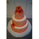 СВ 1 Торт свадебный с цветами трехярусный