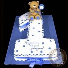 СМ 5 Торт на годик Сине-белый