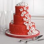 СВ 300 Торт свадебный красный с белыми цветочками