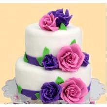 СВ 364 Торт свадебный с розовоми и фиолетовыми розами