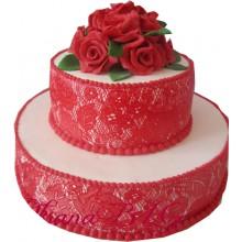 СВ 932 Торт свадебный красый кружевной