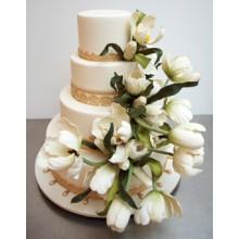 СВ 851 Торт свадебный с белыми тюльпанами