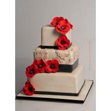 СВ 317 торт свадебный с красными цветами