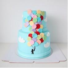 ДТ 308 Торт голубой с шариками