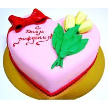 РМ 555 Торт в форме сердца с тюльпанами