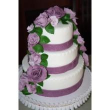 БСВ 5689 Торт свадебный сиреневые розы
