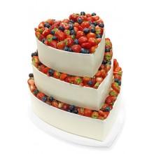 БСВ 215 Торт свадебный в форме сердца с фруктами