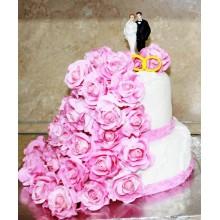 БСВ 1478 Торт свадебный розовые розы