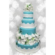 БСВ 483 Торт роскошный свадебный в голубом цвете