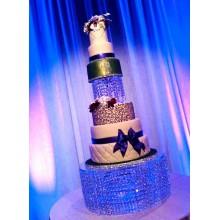СВ 84 Большой свадебный торт сине-золотистый