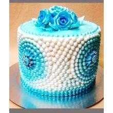 РМ 017 Торт голубые бусинки