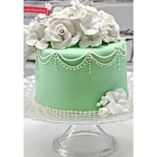 СВ 498 торт нежно-зеленый с цветами
