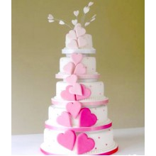 БСВ 771 Торт свадебный с розовыми сердечками