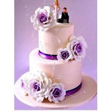 СВ 011 Торт свадебный фиолетовые цветы