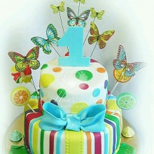 СМ 003 Торт на годик с бабочками