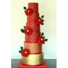 БСВ 034 Торт большой свадебный красный с золотом