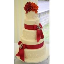 БСВ 009 Торт свадебный белый с красными бантами