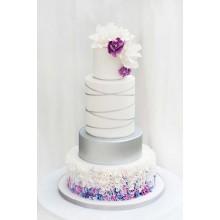 БСВ 115 Торт свадебный белый с сиреневыми цветами