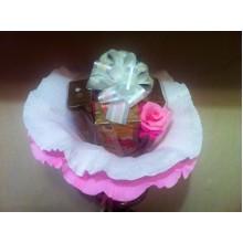 Ч2 Букет из 4х чаев розовый с белым бантом