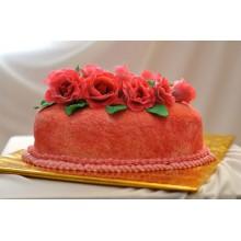 ПР 219 Торт красный с цветочками