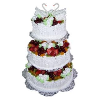 ФРТ 1 Торт свадебный с лебедями и фруктами
