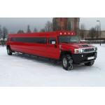 прокат лимузина Хаммер H2 (красный) 2012 г.в., мест: 24