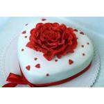РМ 110 Торт сердце с роскошной розой