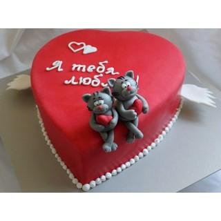 ПР 045 Торт сердце с котятами (я тебя люблю)